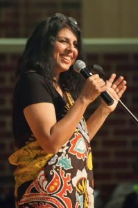 Chitra speaks to an audience at the Henrico Reads event last April in Henrico, VA.